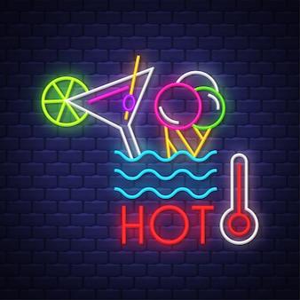 Verão quente. letras de sinal de néon