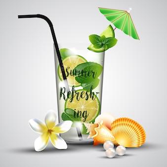 Verão refrescante limonada tropical