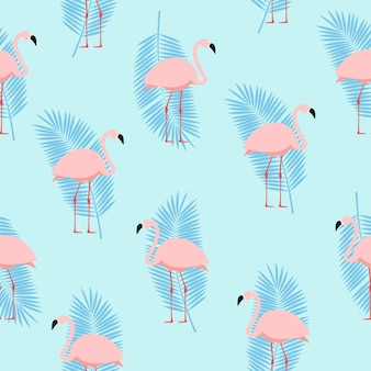 Verão rosa flamingo sem costura de fundo. ilustração