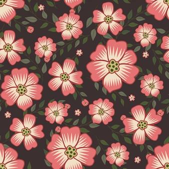Verão rosa flores grinalda estilo hera com galho e folhas, padrão sem emenda