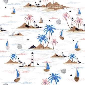 Verão sem costura ilha padrão oceano vector