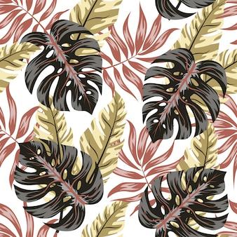 Verão sem costura padrão tropical com folhas e plantas