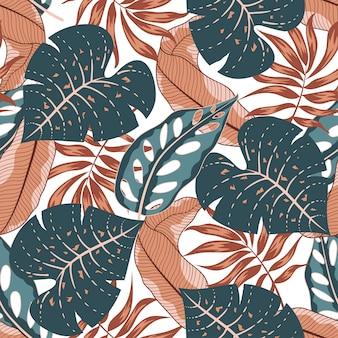 Verão sem costura padrão tropical com folhas