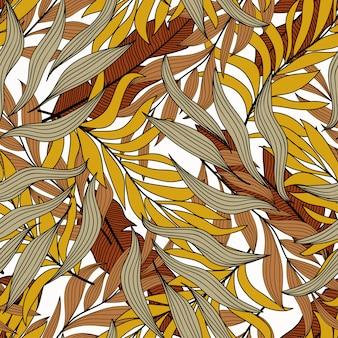 Verão sem costura padrão tropical com plantas e folhas alaranjadas e marrons