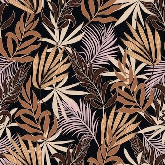 Verão sem costura padrão tropical com plantas e folhas marrons lindas