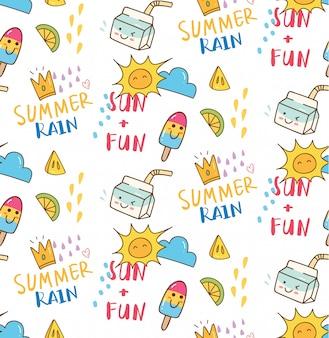 Verão temático doodle fundo sem emenda