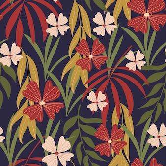 Verão tendência abstrata sem costura padrão com folhas tropicais