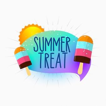 Verão tratar sorvete e sol fundo