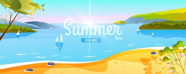 Verão tropical banner viagem praia paisagem litoral oceano barco ilhas árvores