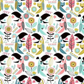 Verão tropical de padrão uniforme com tucanos