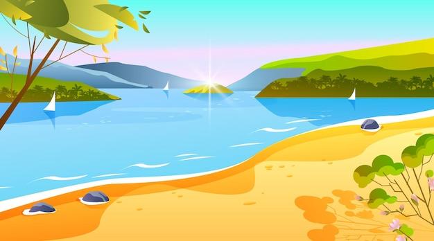 Verão tropical, paisagem de praia do oceano, ilha tropical. areia, árvore, barco
