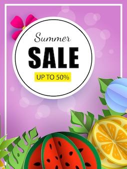 Verão venda banner modelo tropical folhas e frutos