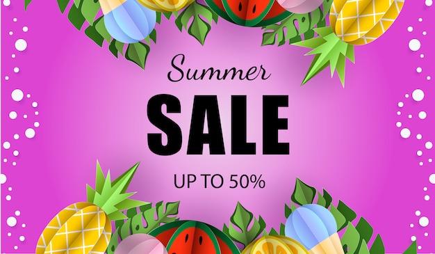 Verão venda banner tropical exóticas folhas frutas