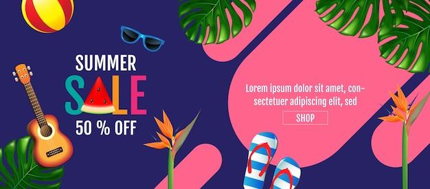 Verão, venda, layout, colorido na moda