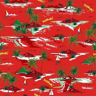 Verão vermelho belo padrão de ilha sem costura