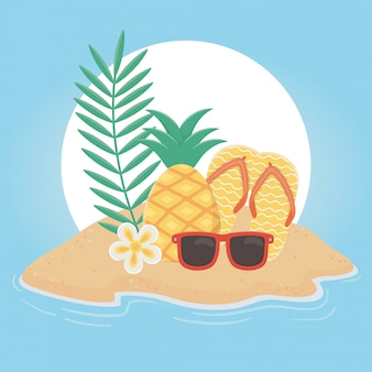 Verão viagens e férias chinelos abacaxi óculos de sol praia tropical flor ilustração vetorial