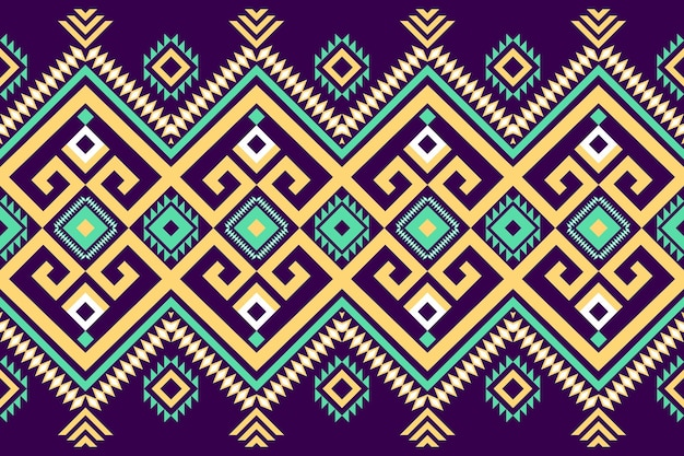 Verde amarelo em roxo escuro geométrico oriental ikat padrão étnico tradicional sem costura design para plano de fundo, tapete, pano de fundo de papel de parede, roupas, embrulho, batik, tecido. estilo de bordado. vetor
