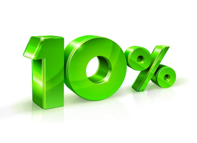 Verde brilhante 10 dez por cento de desconto, venda. isolado no fundo branco, objeto 3d.