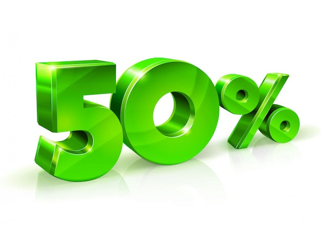 Verde brilhante 50% de desconto