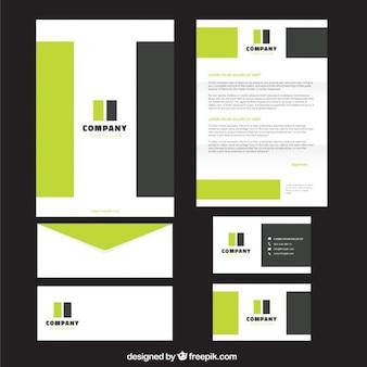 Verde e retângulos cinzas papelaria