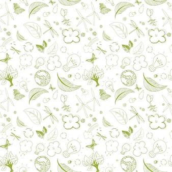 Verde ecológico doodles padrão