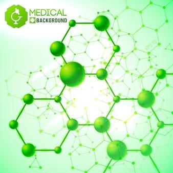 Verde médico com ilustração realista de símbolos de medicina e saúde