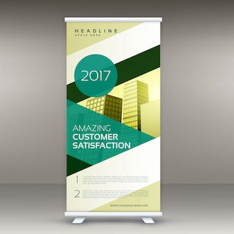 Verde moderno arregaçar banner standee projeto vector