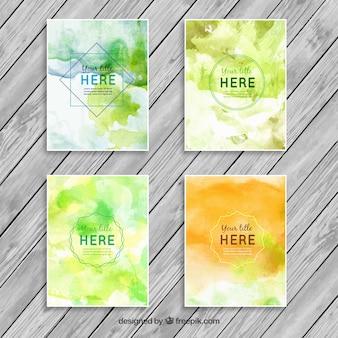 Verde panfletos aquarela