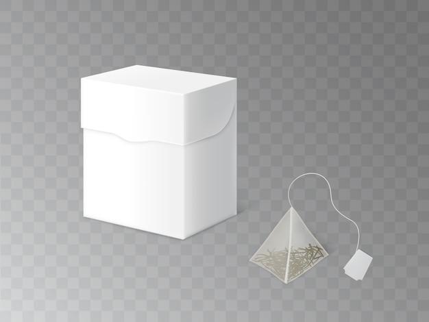 Verde, preto ou chá de ervas, modelo de embalagem 3d vector realista