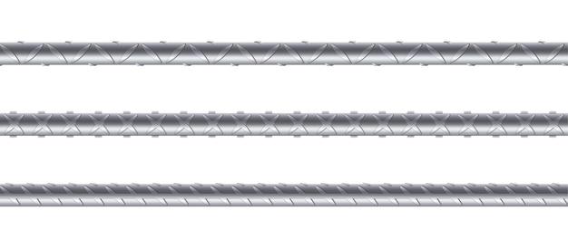 Vergalhões de aço sem costura em fundo branco. conjunto de barras e barras de metal realistas para construção. armadura de reforço metálico sem fim. ilustração vetorial 3d