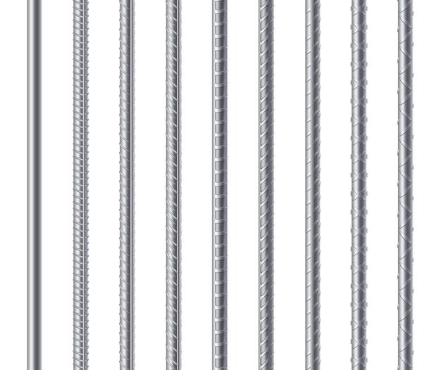 Vergalhões, hastes de aço de reforço de metal isoladas.
