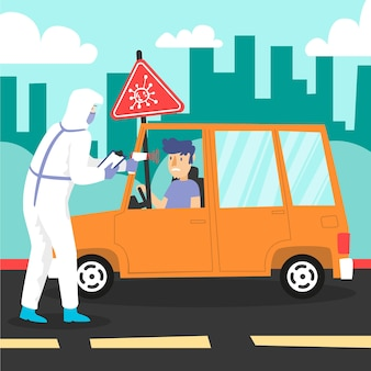 Verificação da temperatura corporal na estrada