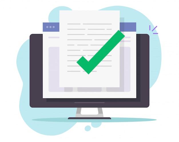 Verificação de arquivo de documento confirmado aprovado on-line no computador desktop