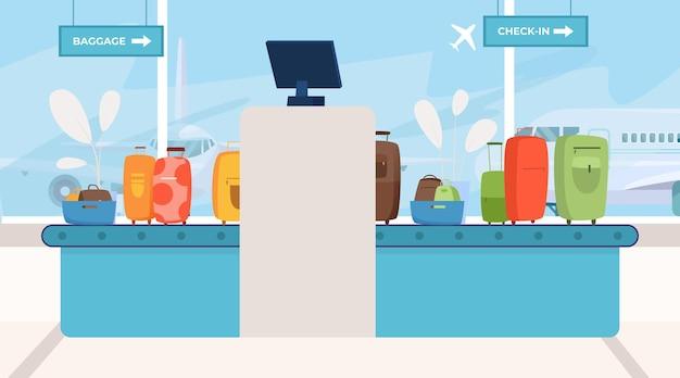 Verificação de bagagem na área de verificação de raio-x de segurança de bagagem