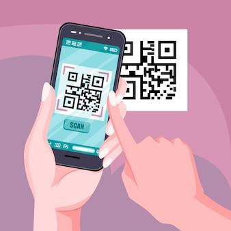 Verificação de código qr em design de celular