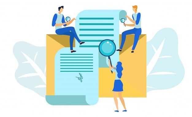 Verificação de contrato de negócios, inspeção de documentos