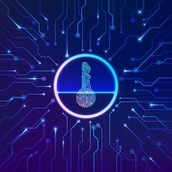 Verificação de impressão digital. conceito de segurança cibernética. impressão digital em forma de chave com fundo de circuito. tecnologia de criptomoeda de segurança. sistema futurista de autorização. ilustração vetorial