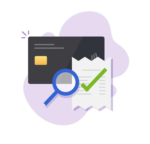 Verificação de pagamento de fatura de cartão de crédito bancário, auditoria de ícone de transação de fraude de dinheiro digital