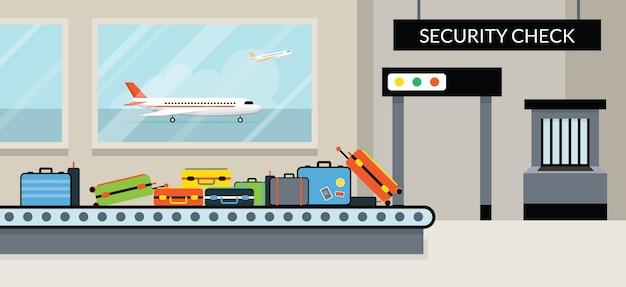 Verificação de segurança do terminal do aeroporto