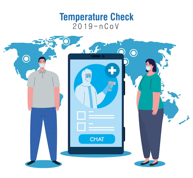 Verificação de temperatura por termômetro sem contato e smartphone, verificação de novas tecnologias, pessoas em teste