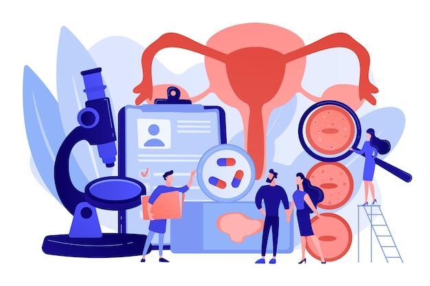Verificação de vírus hpv. diagnóstico de infecção viral. tratamento de papilomavírus humano, diagnóstico precoce de hpv, medicamentos para o conceito de papilomavírus humano. ilustração em vetor de vetor azul coral rosado
