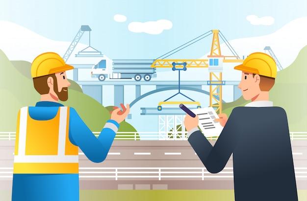 Verificação do local da construção da rodovia pelo supervisor e gerente