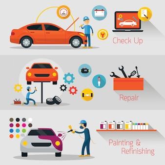 Verificação, reparo, reparo de faixa, assistência e manutenção de automóveis