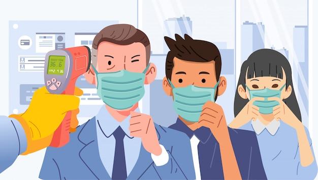 Verificações de temperatura corporal thermogun para funcionários na ilustração do escritório