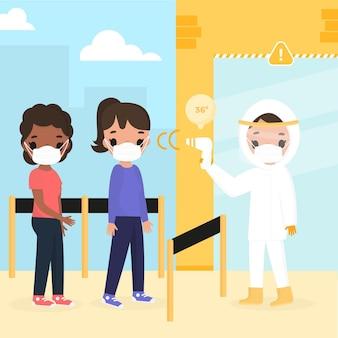 Verificando a temperatura corporal em espaços públicos