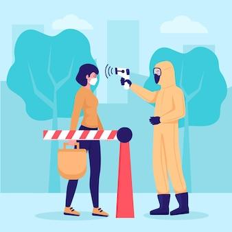 Verificando a temperatura corporal na ilustração de áreas públicas