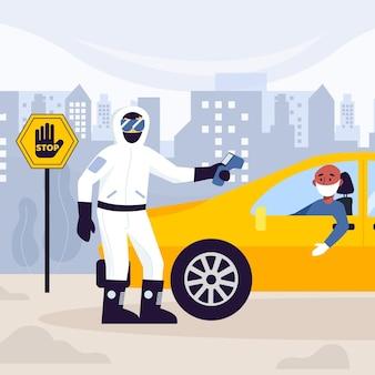 Verificando a temperatura das pessoas nos carros