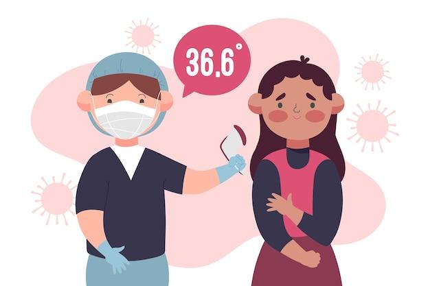 Verificando a temperatura do corpo em áreas públicas