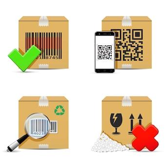 Verificando caixas de papelão de entrega