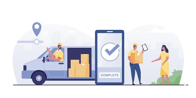 Verificando o aplicativo de serviço de entrega em um telefone celular. caminhão de entrega com caixa de papelão.
